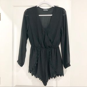 Long Sleeve Black Romper with Crochet Detail